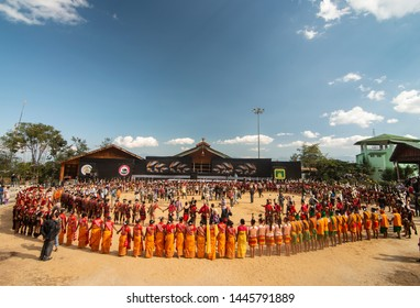 Hornbill Festival.Nagaland,India:2nd December 2013 : All tribal Groups performing together at Arena at Hornbill Festival.