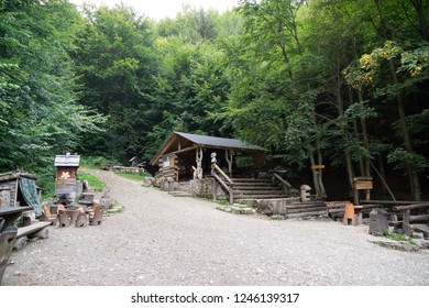 "Horni Lipova, Czech Republic - September 04, 2018: Attractions in ""Lesni Bar"" - Forest Bar in the middle of the woods. Czech Republic"