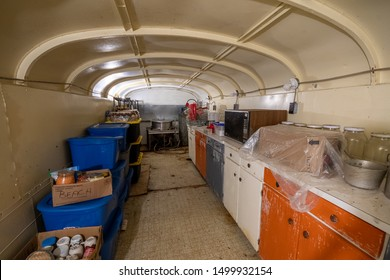 Hornings Mills Ontario, Canada - July 21st, 2019: Ark Two Underground Nuclear Shelter Made of 42 Buried School Busses by Bruce Beach