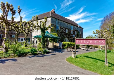 Horningsham, Wiltshire / UK - April 18 2017: The Bath Arms Pub at Longleat, Horningsham, Wiltshire, United Kingdom.
