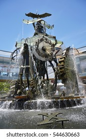 HORNSBY, NEW SOUTH WALES, AUSTRALIA - DECEMBER 5, 2015. Water clock in Hornsby, NSW. Officially titled Man, Time and the Environment, the clock from 1930, is a kinetic sculpture made by Victor Cusack.
