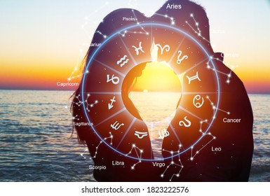 Horoscope astrology zodiac illustration with young couple