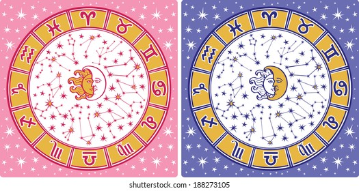 The Horoscope circle with  Zodiac signs and constellations of the zodiac.Inside are sun and moon.Retro style.Horoscope for man and woman, illustration