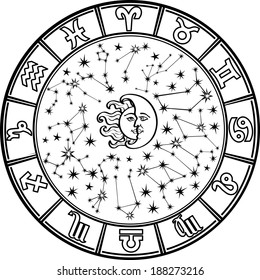 The Horoscope circle with  Zodiac signs and constellations of the zodiac.Inside the symbol of the sun and moon.Retro style.Black and white colors.Illustration