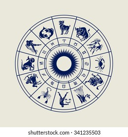 Horoscope wheel of zodiac signs with symbol