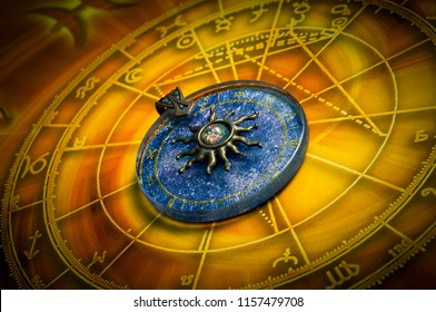 horoscope with zodiac signs and sun astrology pendant