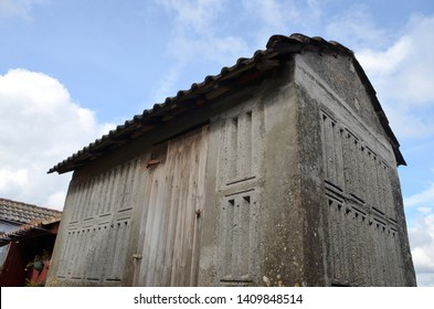 Horreo, typical granaries in Combarro, a village of the  province of Pontevedra in the Galicia region of Spain.