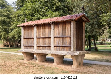 Horreo typical granary from the northwest of Spain. Galician granary