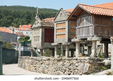 Horreos, traditional galician granary in typical fishing village Combarro. Galicia, Spain