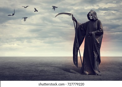 A horrible Death with a scythe on the background of desert landscape with flying crows.