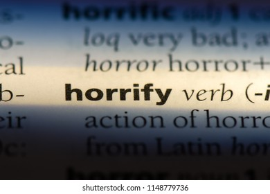 horrify word in a dictionary. horrify concept.