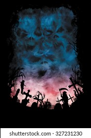 Horror background with skies like skulls and a cemetery. Illustration silhouettes of a cemetery, crosses, trees, a statue, a hanged vampire. Gloomy dark skies with monster faces in clouds.
