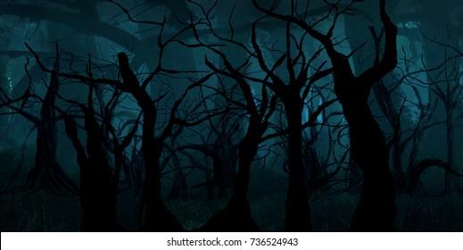 Horror background,fantasy  dark trees on night Haloween
