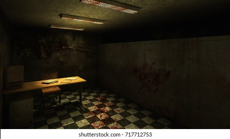 horror and creepy mortuary in the hospital .3D rendering