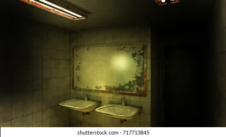 horror and creepy toilet in the hospital .3D rendering