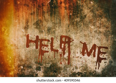 Horror Crime Concept. Help Me Message on Bloody Background Scary Wall