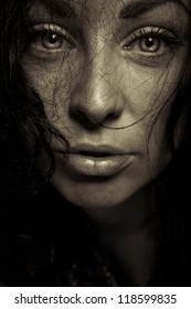 horror emotion expression dark girl face