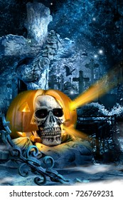 horror fear pumpkin skull night cross grave fence moonlight gloom holiday