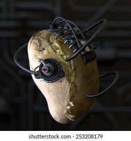 Horror food. Conceptual image for genetically modified produce, GMO. Borg potato.