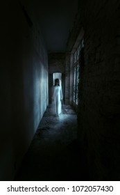 Horror ghost girl in abandoned building