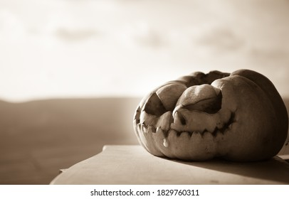 Horror Halloween concept. Close up view of scary dead Halloween pumpkin. Rotten pumpkin head. Selective focus