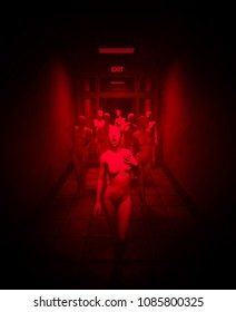 Horror mannequin,scary 3d illustration of mannequins in abandoned hallway