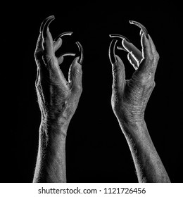 Horror Movie. Closeup view of two female old scary mystic hands with long black nails on fingers of witch zomby demon or devil on halloween holiday character in studio indoor on dark background