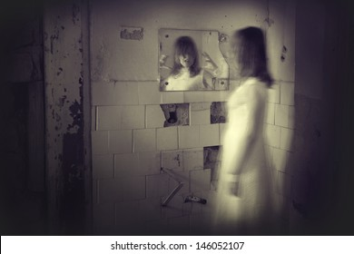 Horror movie scene with a creepy face in the mirror