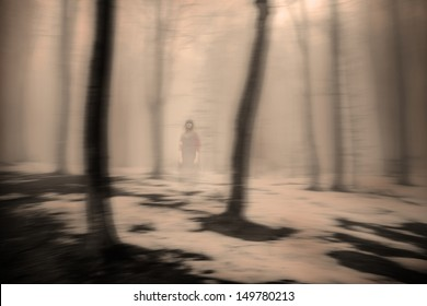 Horror movie scene with a girl dressed in white in a desolated house