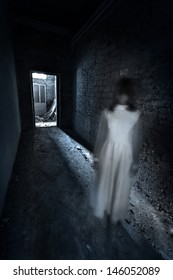 Horror movie scene with a lonely figure on the hall