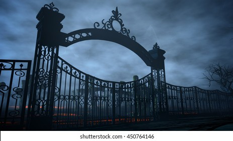 Horror night cemetery, grave. Moonlight . halloween concept. 3d rendering