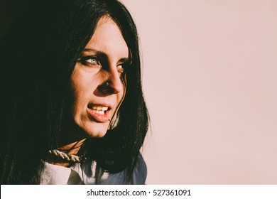 Horror portrait of a young scary woman
