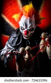 horror scary killer circus clown. Halloween nightmare