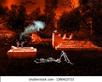 Horror and Scary photography with creepy and spooky background. The bone skeleton is lying in the graveyard. The killer hands making the scene horrible and fearful under white smoke in the dark night.