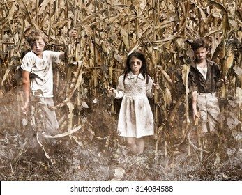 Horror Scene of 3 Children in a corn field
