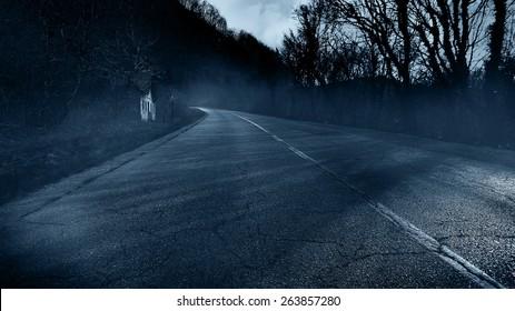 Horror scene of creepy road