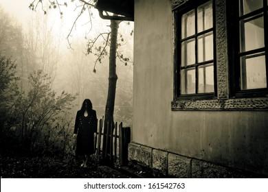 Horror scene of a female ghost