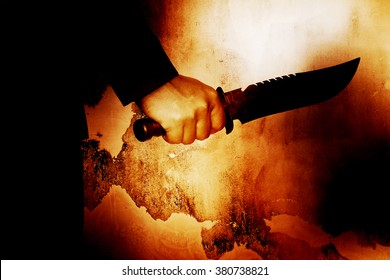 Horror scene of man with knife,Serial killer or violence concept background