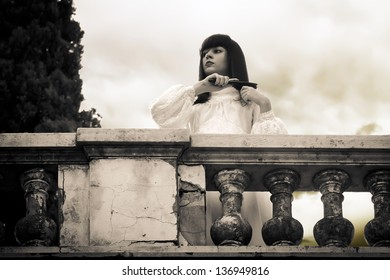 Horror scene - mystical woman