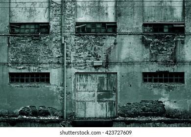 Horror scene of a old grunge facade