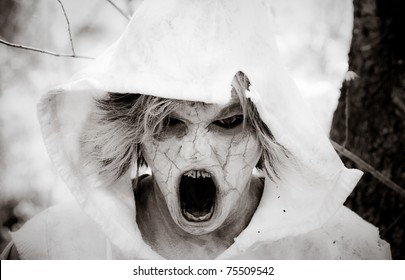 Horror Scene of a Possessed Woman Screaming