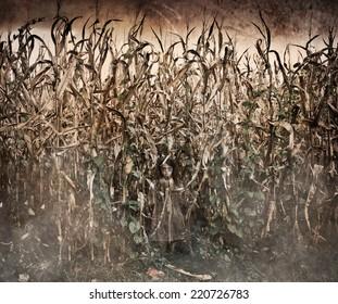 Horror Scene with scary ghost like little girl in a corn field