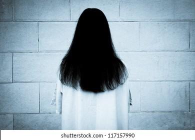 Horror scene of scary woman