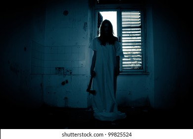 Horror scene of a scary woman.