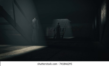 Horror scene of a scary woman. 3D rendering image