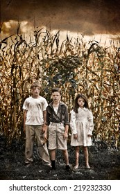 Horror Scene of three children in a Corn Field