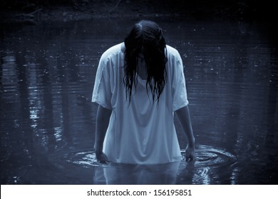 Horror Scene - the woman in the swamp