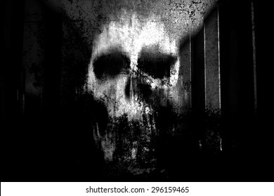 Horror Skull,Black And White Horror Background For Halloween Concept And Movie Poster Project