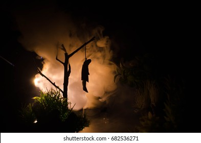 Horror View Of Hanged Girl On Tree At Evening Night Suicide Decoration