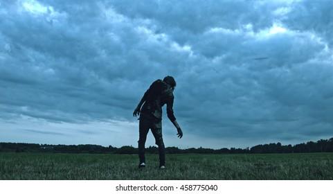 Horror zombie walks is a field.